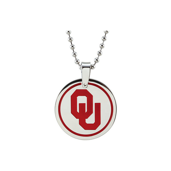 Stainless Steel University of Oklahoma Sooners Medallion Necklace