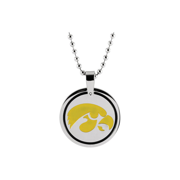 Stainless Steel University of Iowa Hawkeyes Medallion Necklace