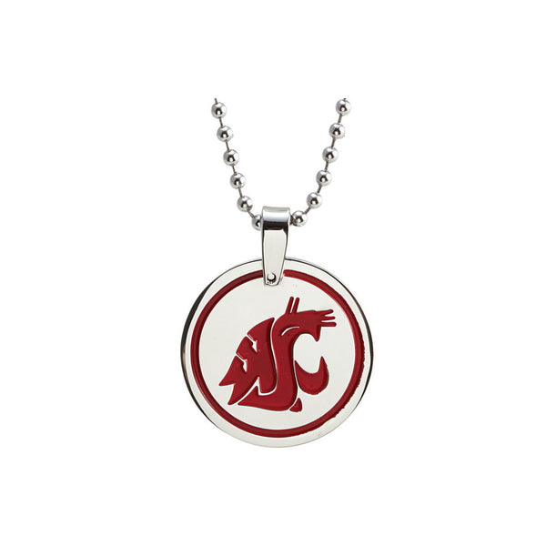 Stainless Steel Washington State University Medallion Necklace