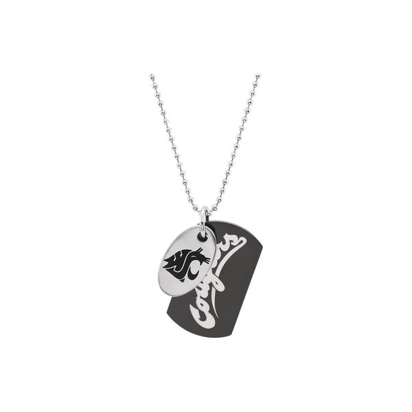 Stainless Steel Washington State Cougars Double Dog Tag Necklace