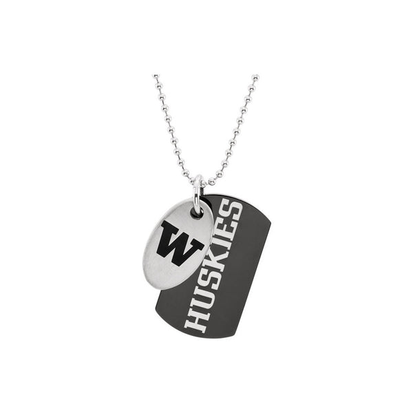 Stainless Steel Washington Huskies Double Dog Tag Necklace