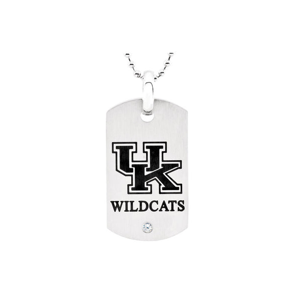 Stainless Steel University of Kentucky Wildcats Dog Tag Necklace