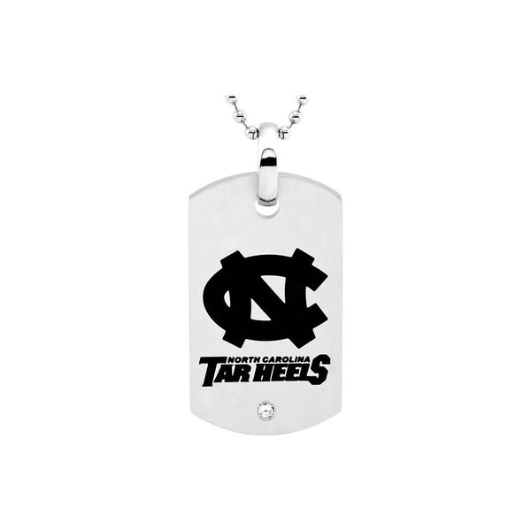 Stainless Steel UNC Tar Heels Dog Tag Necklace