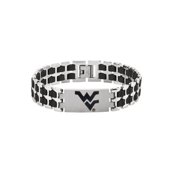 Stainless Steel West Virginia Mountaineers Logo Bracelet