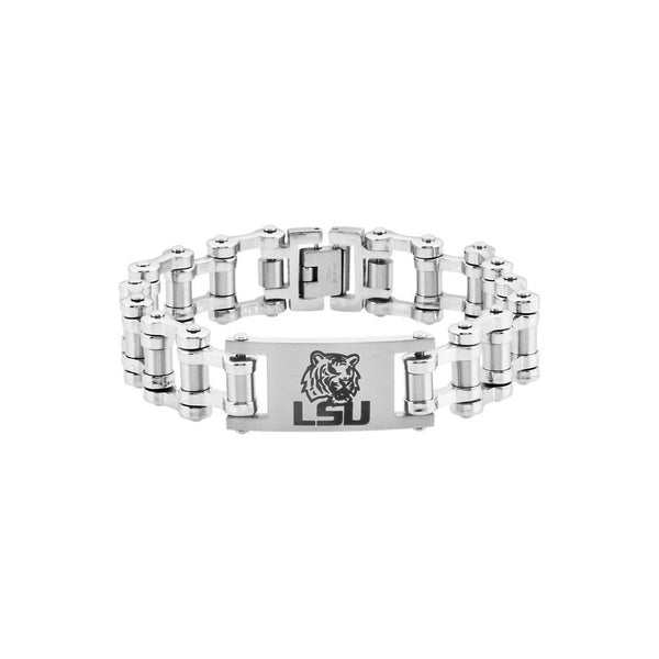 Stainless Steel Louisiana State Tigers Bicycle Link Bracelet