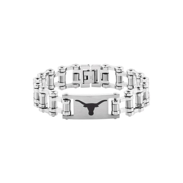 Stainless Steel University of Texas Longhorns Bicycle Link Bracelet