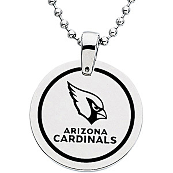 Stainless Steel Arizona Cardinals Name Logo Necklace