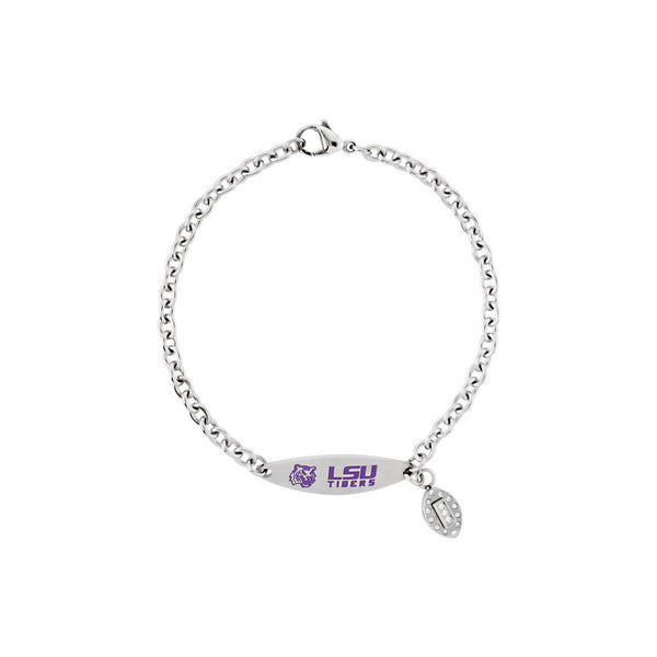 Stainless Steel Louisiana State Tigers ID Plate Charm Bracelet