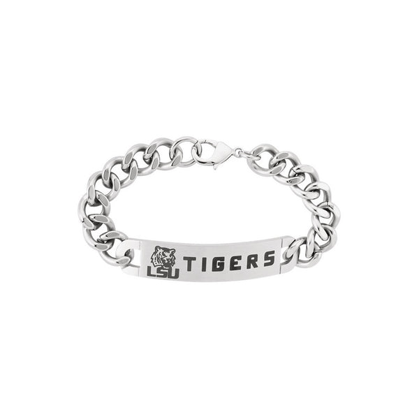 Stainless Steel Louisiana State Tiger ID Plate Curb Chain Bracelet