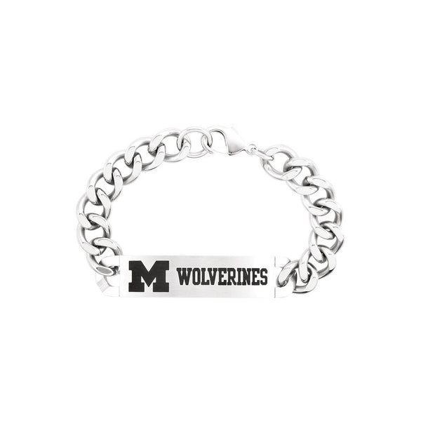 Stainless Steel Michigan Wolverines ID Plate Bracelet