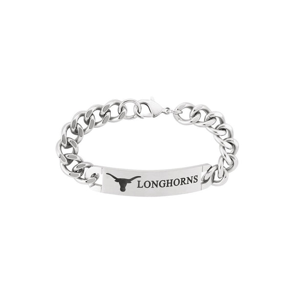 Stainless Steel University of Texas Longhorns ID Logo Bracelet
