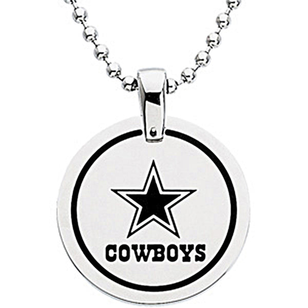 Stainless Steel Dallas Cowboys Name Logo Necklace