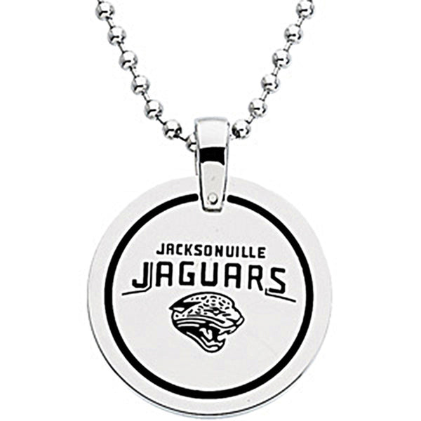 Stainless Steel Jacksonville Jaguars Name Logo Necklace