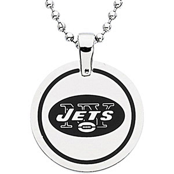 Stainless Steel New York Jets Name Logo Necklace