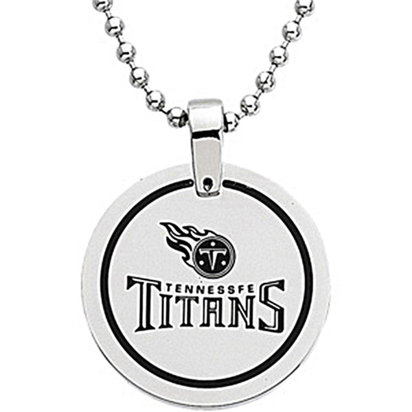 Stainless Steel Tennessee Titans Name Logo Necklace