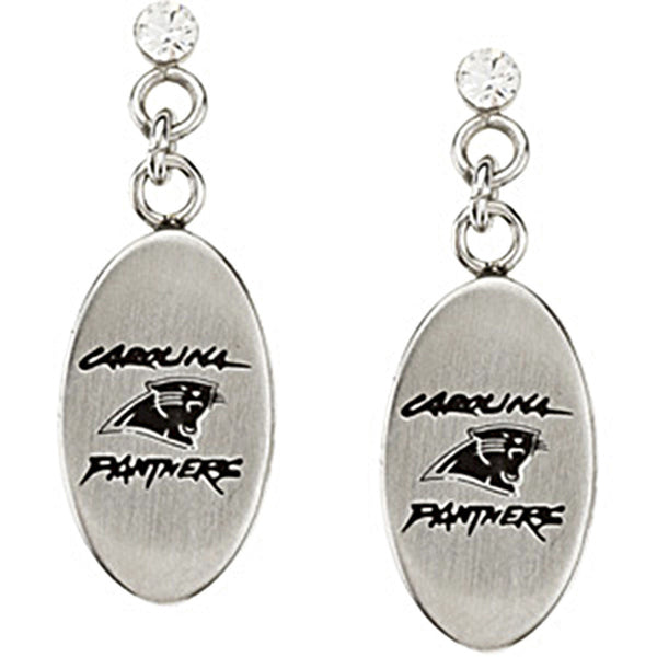 Stainless Steel Carolina Panthers Logo Dangle Earrings