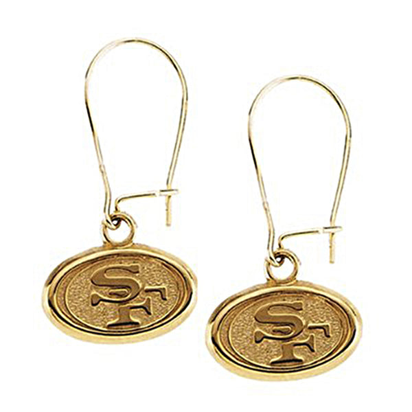 14K Yellow San Francisco 49ers NFL Logo Dangle Earrings