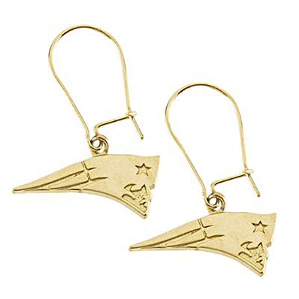 14K Yellow New England Patriots NFL Logo Dangle Earrings