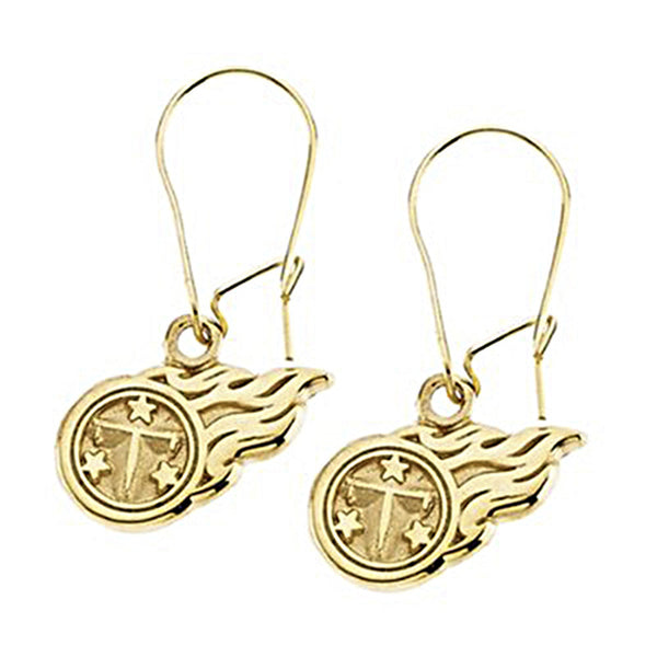 14kt Yellow Tennessee Titans NFL Logo Dangle Earrings