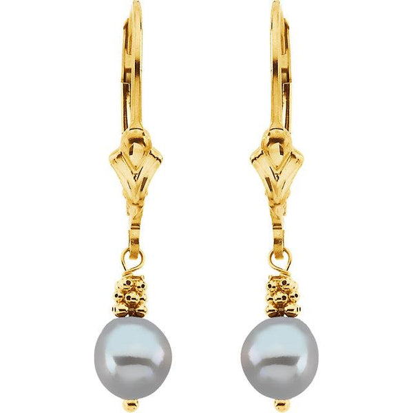 14kt Yellow Gold Freshwater Grey Pearl Drop Earrings