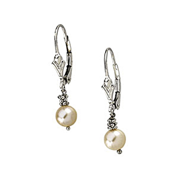 14kt White Gold Freshwater Pink Pearl Drop Earrings