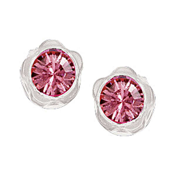 Pink Austrian Crystal Blomdahl Medical Plastic Earrings
