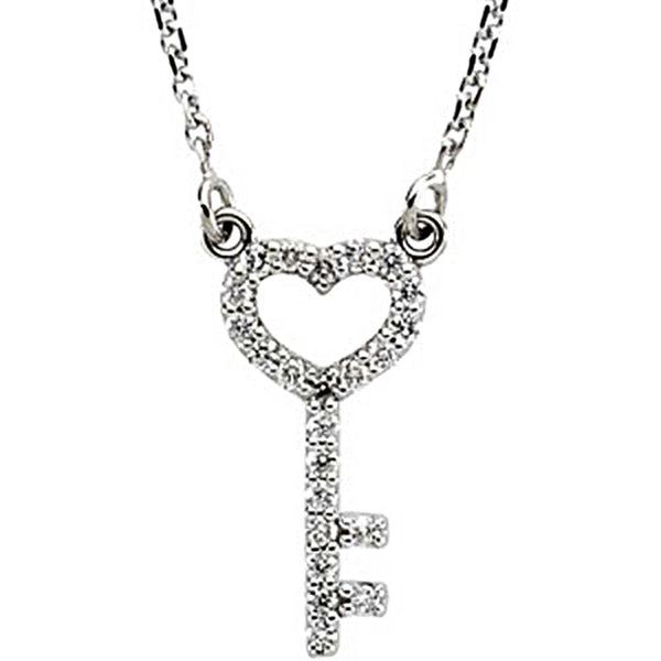 1/8 ct tw Diamond Skeleton Key Necklace