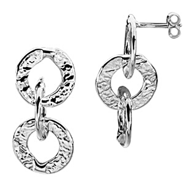 925 Sterling Silver Hammered Circle Earrings