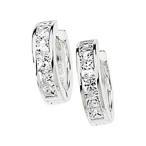 3.20 ct tw Princess Cubic Zirconia Hinged Hoop Earrings
