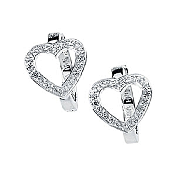 .28 ct tw Cubic Zirconia Heart Hoop Earrings