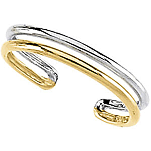 Solid 14kt Two Toned Gold Toe Ring
