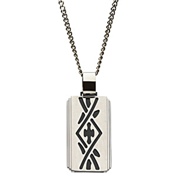 24 Inch Black IP Stainless Steel Tribal Cross Dog Tag Necklace