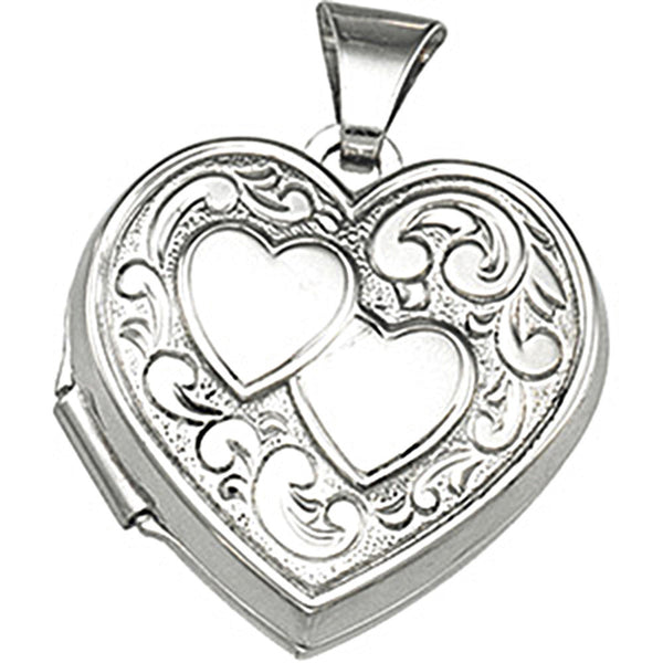 Sterling Silver Dual Heart Locket Pendant