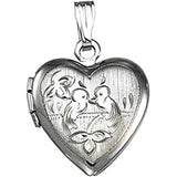 Sterling Silver Love Birds Heart Locket Pendant