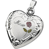 Sterling Rose Mom Heart Locket Pendant