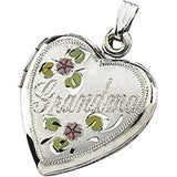 Sterling Rose Grandma Heart Locket Pendant