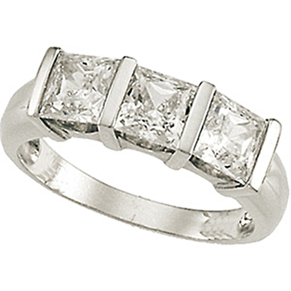 Sterling Silver Trio Cubic Zirconia Princess Ring
