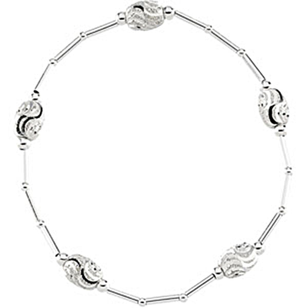 6.25mm Sterling Silver Oval Stretch Bracelet