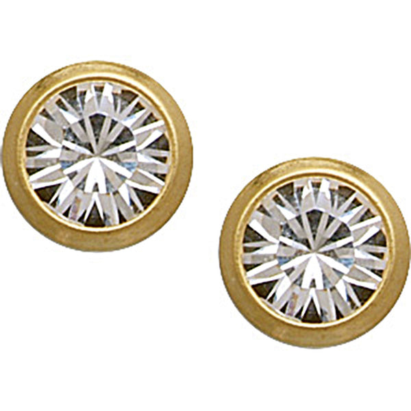 18K Gold Plated 4mm CZ Titanium Stud Earrings