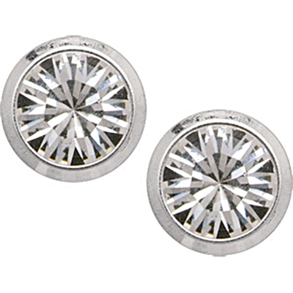 4mm Clear Cubic Zirconia Titanium Stud Earrings