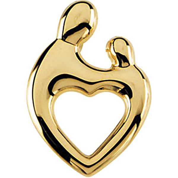 14K Yellow Gold Mother and Child Heart Pendant by Janel Russell