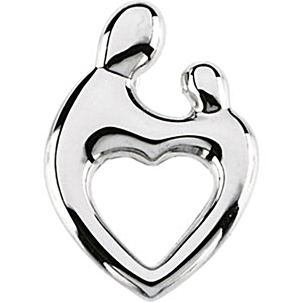 14K White Gold Mother and Child Heart Pendant by Janel Russell