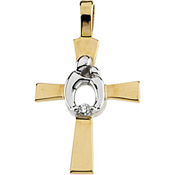 14kt Two Toned Gold Mother and Child Diamond Cross Pendant by Janel Russell