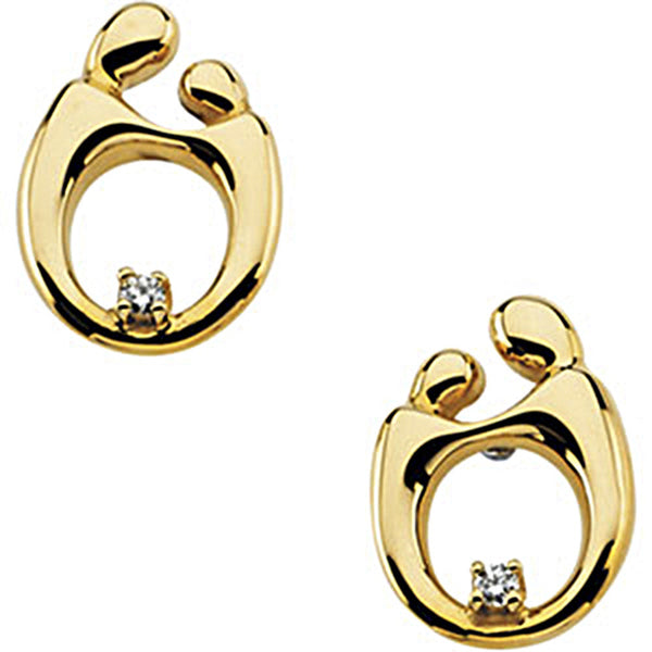 14K Yellow Gold Mother and Child Diamond Stud Earrings by Janel Russell