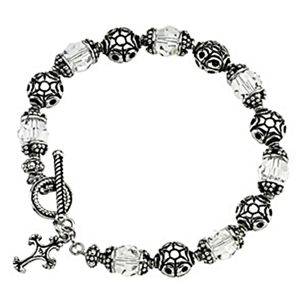 Inspirational Blessings Sterling Silver Crystal Perfection Bracelet