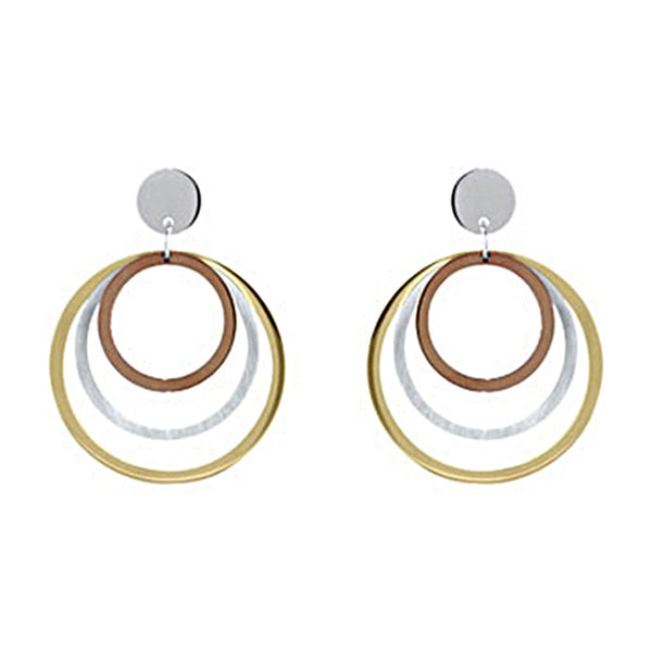 Tri-color Stainless Steel Multiple Circle Hoop Earrings