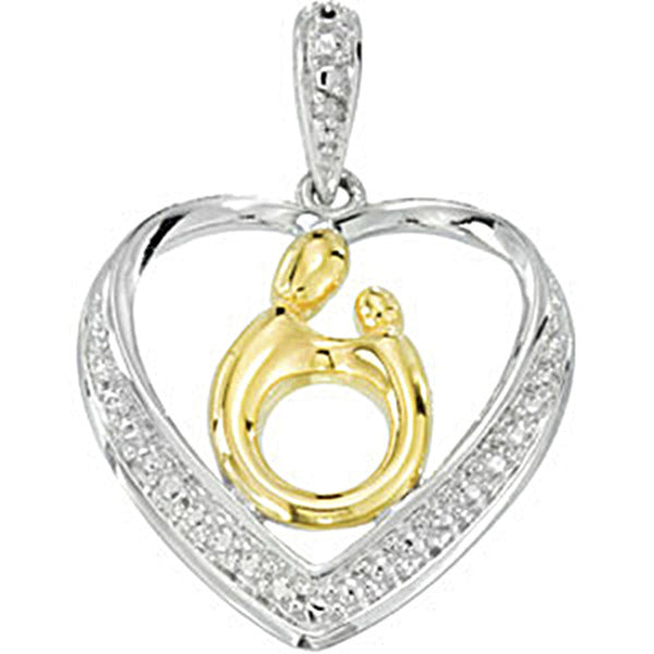 Sterling Silver 18K Yellow Gold Diamond Heart Mother and Child Pendant by Janel Russell