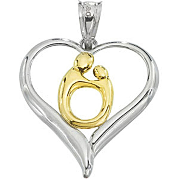 10K Gold Sterling Silver Hollow Heart Mother and Child Pendant by Janel Russell