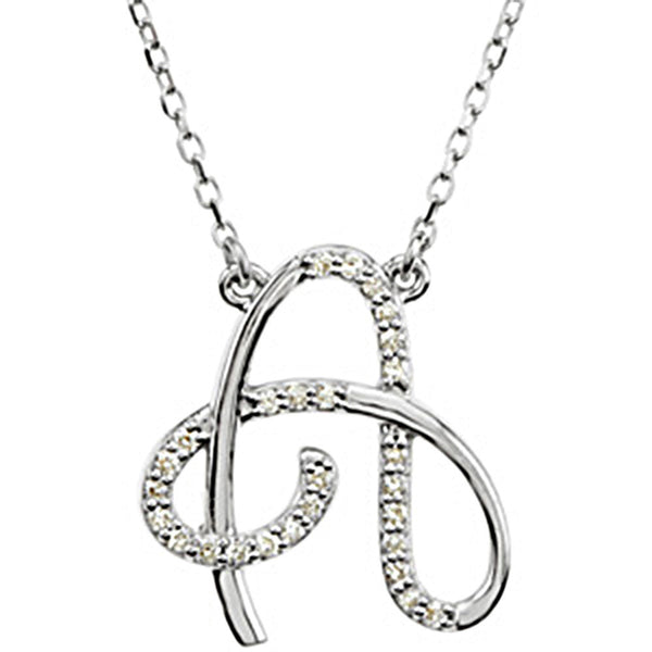 Sterling Silver Letter A Diamond Initial Necklace (G-H, I2, 1/8ct tw)