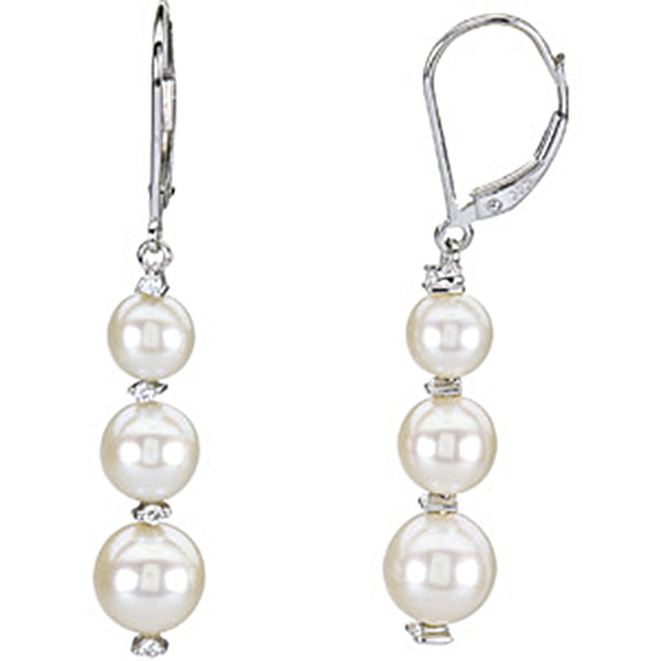 14K White Gold Trio Freshwater Pearl Diamond Earrings